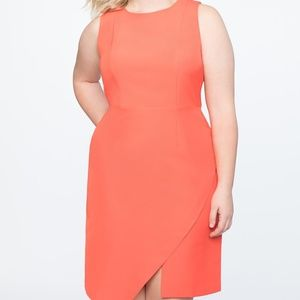 Eloquii Orange Asymmetrical Sheath Dress